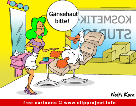 Goose in beauty parlour cartoon - Free animals cartoons