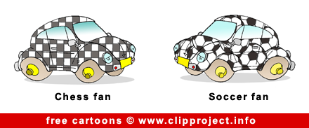 Chess and Soccer fans cartoon image free