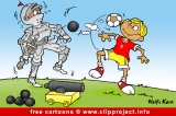 Free cartoon - knight and soccer player