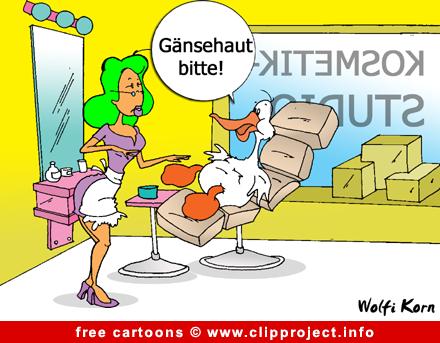 Goose in beauty parlour cartoon - Free animals cartoons