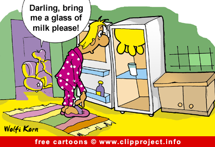 Milk in refrigerator cartoon image free