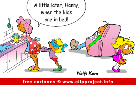 Gratis Cartoon Family on Evening