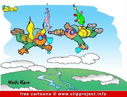 Free Cartoon image Sky Divers